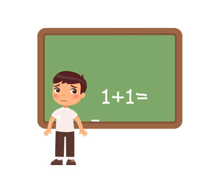 Sad schoolboy is standing in front of a blackboard. Kid cannot solve the example. Child has not completed homework and does not know the answer. Cartoon character, flat vector illustration.
