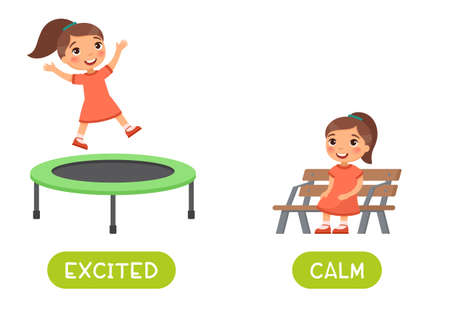 Excited and calm antonyms word card vector template. Opposites concept. Flashcard for english language learning. Happy little girl is jumping on a trampoline, child is sitting calmly on the bench.