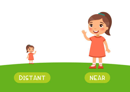 Distant and near antonyms word card vector template. Opposites concept. Flashcard for english language learning. Little girl stands far on the horizon, a child is close.