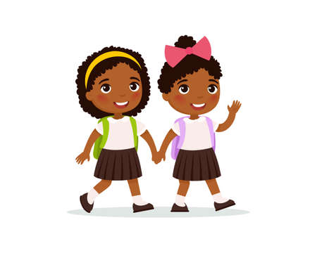 African schoolgirls going to school flat vector illustration. Couple pupils in uniform holding hands isolated cartoon characters. Two happy elementary school students with backpacks waving hand and greeting