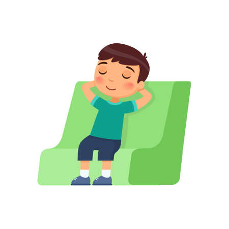 The little boy closed his eyes and sits in a chair with his hands behind his head. Rest and relaxation concept. Cartoon character isolated on white background. Flat vector color illustration.