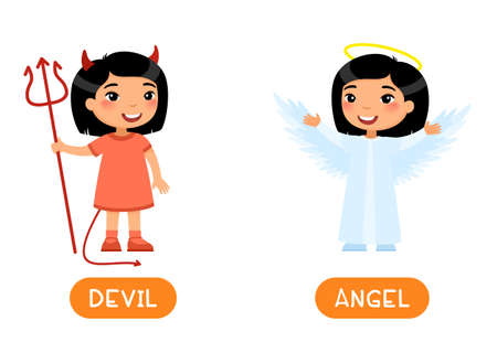 Opposites concept, DEVIL and ANGEL. Flash card with child in masquerade outfit vector template. Word card for English learning. Little asian girl dressed for costume party flat vector illustration with typography 일러스트