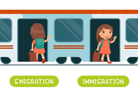Emigration and immigration antonyms word card vector template. Opposites concept. Flashcard for english language learning. Little girl with a suitcase enters the train, the child gets out of the car.