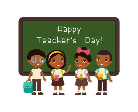 Happy teachers day greeting flat vector illustration. Smiling pupils standing near blackboard in classroom cartoon character. African schoolkids congratulate teachers. Educational holiday celebration