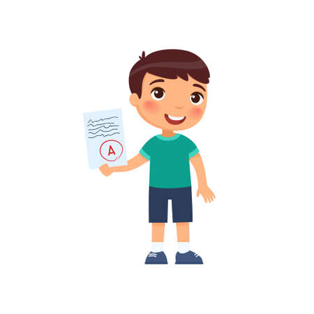 Happy little boy got the highest A grade. The concept of the passed test, exam. Diligent pupil. Cartoon character isolated on white background. Flat vector color illustration. 일러스트