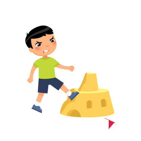 Angry asian boy destroying sandcastle flat vector illustration. Little kid breaking beach fortress cartoon character. Cruel child ruining sand tower isolated on white background. Violence concept