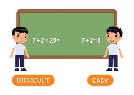 Opposites concept, EASY and DIFFICULT. Word card with little asian schoolboy vector template. Flash card for foreign language with pupil in class. Kid doing math sums flat illustration with typography