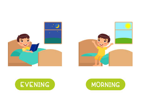 Evening and morning antonyms word card vector template. Opposites concept. Flashcard for english language learning. Little boy reads a book before sleep, child sits on the bed and rejoices in the morning. 일러스트