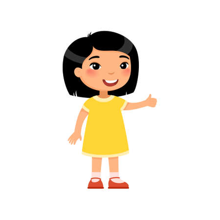Little asian girl showing thumbs up gesture color flat vector illustration. Happy cute kid in yellow dress and dark hair. Smiling toddler, preteen child cartoon character isolated on white backgroun