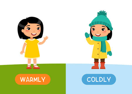 Seasons concept, COLDLY and WARMLY. Childish flash card with antonyms vector template. Educational word card for english language with child. Happy little asain girl flat illustration with typography