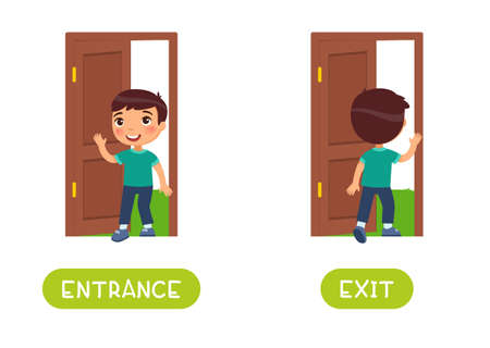 Entrance and exit word card vector template. Opposites concept. Flashcard for english language learning. Little boy walks in an open door, child walks out into the yard.