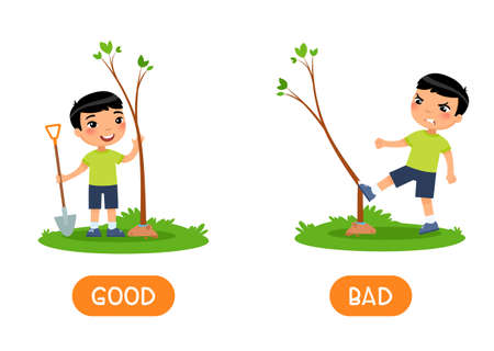 Antonyms concept GOOD and BAD. Kids flash card with opposites vector template. Word card for english learning with little boy. Asian child planting and breaking tree flat illustration with typography Vettoriali