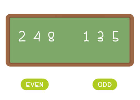 Even and odd antonyms word card vector template. Opposites concept. Flashcard for english language learning. Different numbers are written on the chalkboard. 일러스트