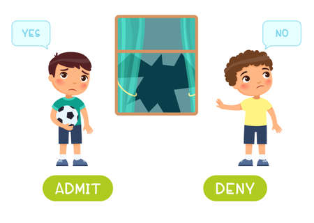 Admit and deny antonyms word card vector template. Flashcard for english language learning. Opposites concept. A sad boy with a ball broke a window, the second child denies guilt.