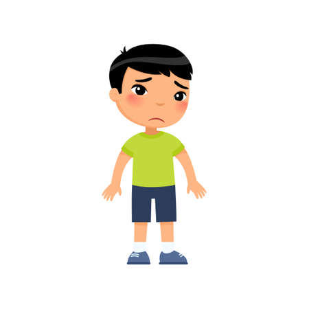 Sadness little asian boy flat vector illustration. Upset child standing alone cartoon character. Lonely kid in bad mood, person unhappy expression isolated on white background
