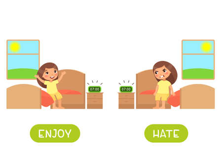 Enjoy and hate antonyms word card vector template. Opposites concept. Flashcard for english language learning. Happy little girl sits on the bed and rejoices in the morning, child is angry at the sound of the alarm clock.