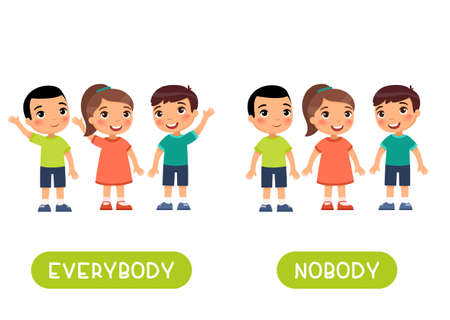 Everybody and nobody antonyms word card vector template. Opposites concept. Flashcard for english language learning. Children hold their hands up in agreement, no one raised their hand.