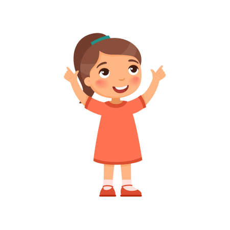 A little girl looks up and shows her fingers up. Cartoon character isolated on white background. Flat vector color illustration. Ilustração