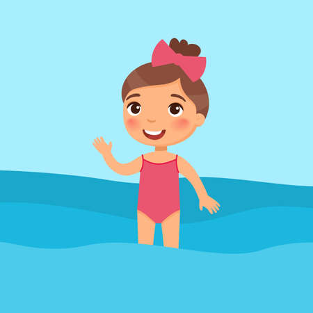 Little girl standing in a swimsuit flat vector illustration. Beautiful child having fun in water, waving hand. Cheerful kid in swimsuit enjoying summer activities color cartoon character