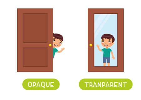 Opposites concept, OPAQUE and TRANSPARENT. Word card for language learning. Little boy stands behind a glass door and behind a wooden door. Flashcard with antonyms for children vector template. Flat illustration with typography.
