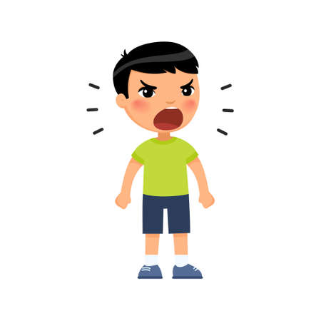 Little asian boy screams out loud, clenching his hands into fists. Angry male child standing cartoon character. Ð¡hild shows bad behavior. Disorder of the child's psyche. Flat vector illustration, isolated on white background