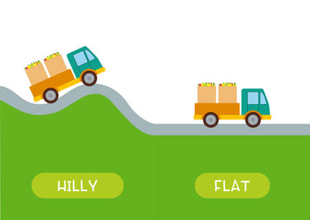 Hilly and flat antonyms word card vector template. Opposites concept. Flashcard for english language learning. Car drives on hilly terrain, the truck drives on the plain.