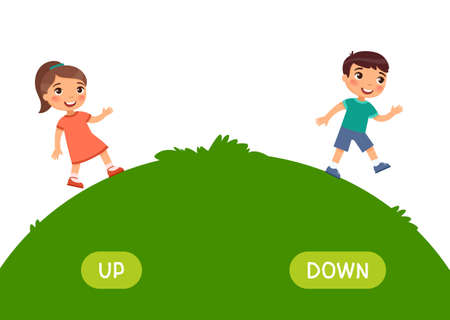 Opposites concept, UP and DOWN. Word card for language learning. Little girl goes up the hill, boy goes down. Flashcard with antonyms for children vector template. Flat illustration with typography.