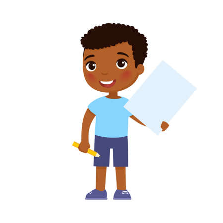 Little smiling boy holding empty paper sheet flat vector illustration. Cute schoolkid with blank poster and pencil in hands isolated on white background. Happy young kid with notepad page mock up 일러스트
