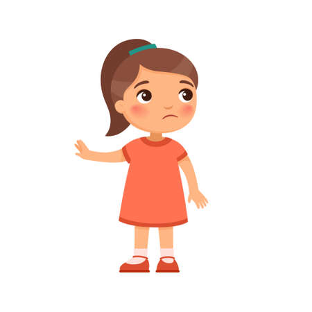 Displeased little girl shows refusal gesture. Naughty child, bad behavior. Child psychology. Cartoon character isolated on white background. Flat vector color illustration. Ilustrace
