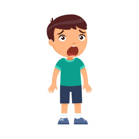 Little frightened boy. A child with intense emotion on the face. Psychology, the concept of children's fears. Cartoon character isolated on white background. Flat vector color illustration. 일러스트