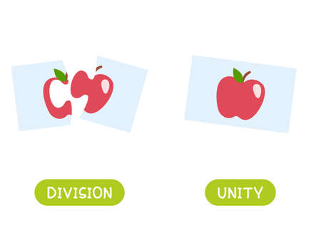 Division and unity antonyms word card vector template. Opposites concept. Flashcard for english language learning. Split puzzle picture, assembled picture. 일러스트