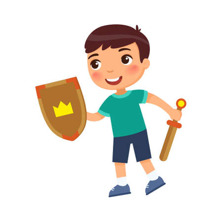 Heroic child with wooden sword and shield. The concept of dealing with fears, child psychology. Cartoon character isolated on white background. Flat vector color illustration. 일러스트