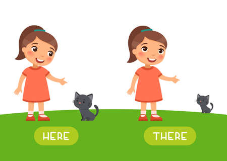 Here and there antonyms word card vector template. Opposites concept. Flashcard for english language learning. Little girl points to the kitten. Small cat in the distance and near to the child. 일러스트