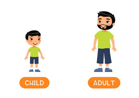 Opposites, age concept, ADULT and CHILD. Foreign language educational flash card vector template. Word card for english learning. Assian grown up man and little asian boy flat illustration with typography