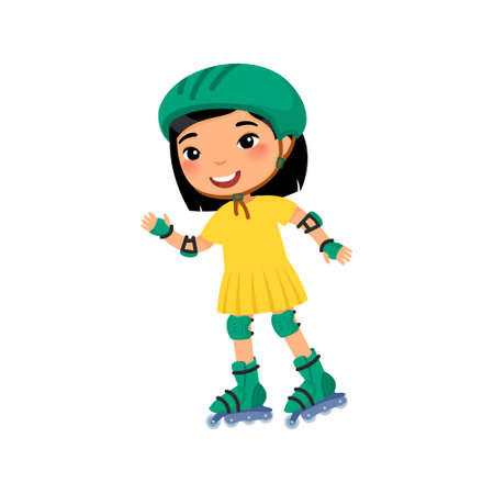 Little asian sportsman with roller skating flat vector illustration. Cute little girl self balancing roller skate cartoon character. Recreation and leisure concept 일러스트