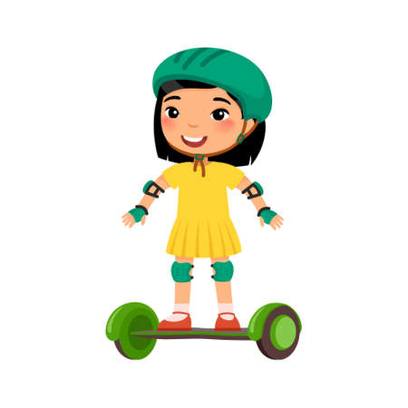 Little sportsman with gyroscooter flat vector illustration. Cute kid riding self balancing board cartoon character. Little asian girl with modern electric transport. Recreation and leisure concept 일러스트