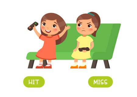 Hit and miss antonyms word card vector template. Opposites concept. Flashcard for english language learning. Little girl won a computer game and is happy, another child is unhappy about losing