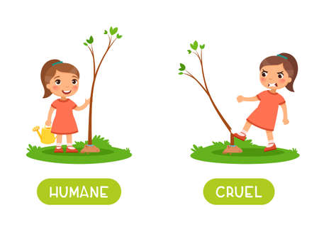 Humane and cruel antonyms word card vector template. Opposites concept. Flashcard for english language learning. Little girl planted a tree, an angry child breaks the plant.