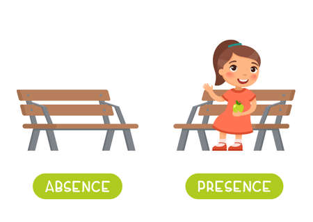 Absence and presence antonyms word card vector template. Flashcard for english language learning. Opposites concept. Little girl sits on the bench, kid is absences. Illustration with typography 일러스트