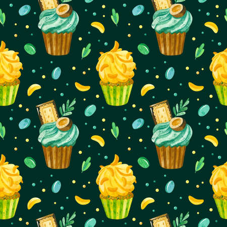 Ð¡upcakes and marmalade hand drawn seamless pattern. Desserts texture on dark background. Creative wallpaper, wrapping paper, textile design, scrapbooking, digital paper. 스톡 콘텐츠