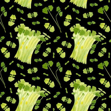 Spring garden leaves of basil seamless pattern. Cartoon greens  watercolor illustration. Wallpaper, wrapping paper design, textile, scrapbooking, digital paper.