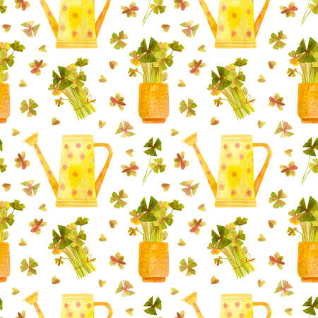 Spring garden seamless pattern. Yellow watering can and seedlings of oxalis. Cartoon greens  watercolor illustration. Wallpaper, wrapping paper design, textile, scrapbooking, digital paper.