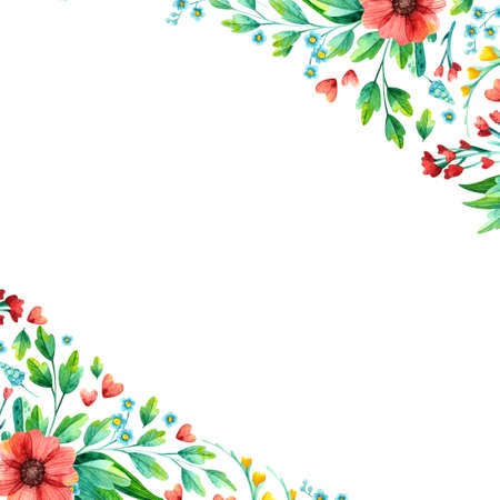 Empty square frame with bright spring flowers hand drawn illustration. Floral border watercolor drawing. Blank frame with flowers isolated on white background