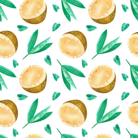 Coconuts and green leaves drawings seamless pattern. Summer tropical fruits and leaves hand drawn texture. Watercolor creative wallpaper, wrapping paper, textile design, scrapbooking, digital paper.