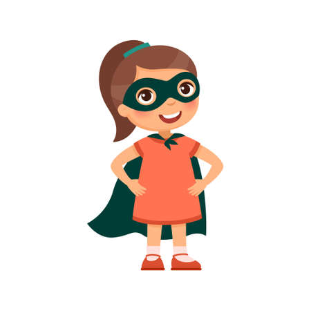 Brave little girl in a heroic pose and a superhero costume. Cartoon character isolated on white background. Flat vector color illustration.