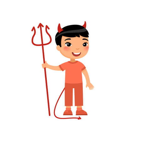 Little asian boy wearing devil costume flat vector illustration. Child dressed like red demon cartoon character. Kid clothed as spooky monster. Halloween costume party, trick or treat design element