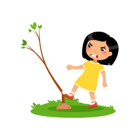 Aggressive boy breaking young tree flat vector illustration. Furious little asian girl damaging plant cartoon character. Angry child destroying nature isolated on white background. Ecology protection concept