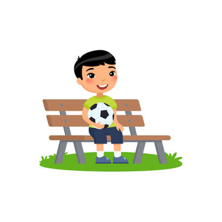 Little asian boy with soccer ball in his hands sits on bench. Summer holidays, recreation, sports, hobbies. Vector flat illustration. Child cartoon character isolated on white background.