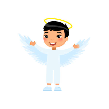 Little asian boy dressed like angel flat vector illustration. Child wearing cherub costume cartoon character. Kid clothed as heavenly creature. Halloween party, masquerade outfit. Autumn holiday