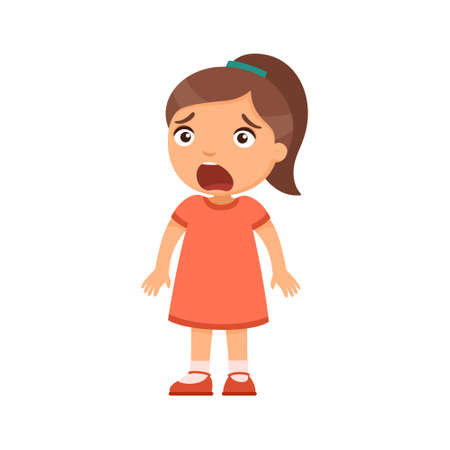 Little frightened girl. A child with intense emotion on the face. Psychology, the concept of children's fears. Ð¡artoon character isolated on white background. Flat vector color illustration.